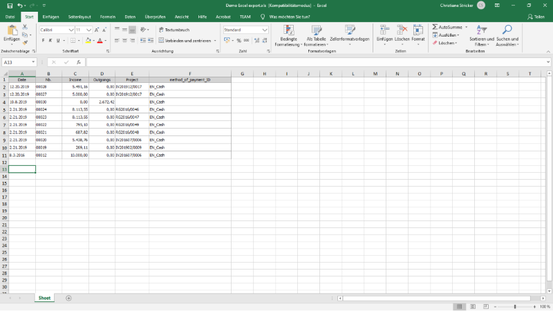Payments list in Microsoft Excel