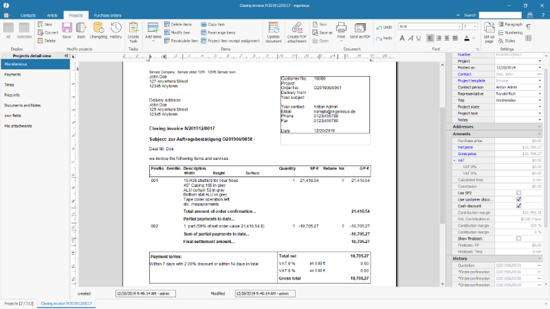 Example final invoice