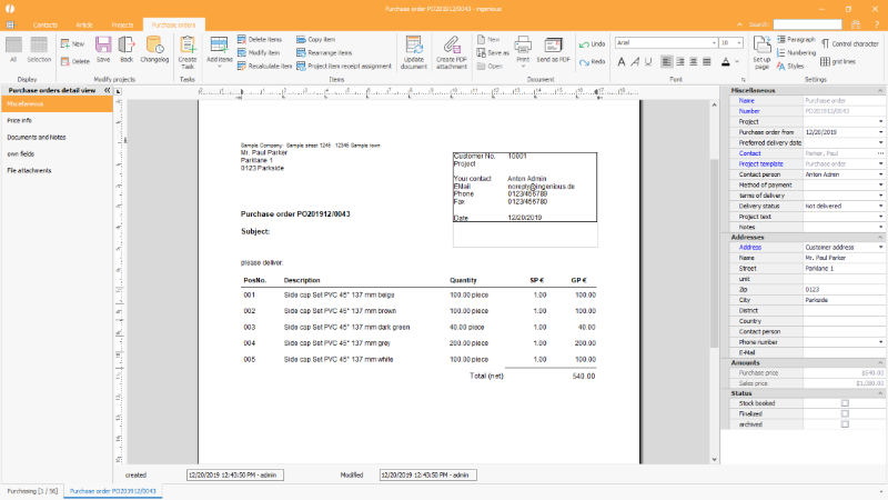 Miscellaneous purchase order information / print preview